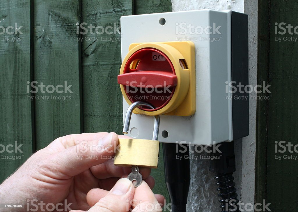 Locking off an electrical supply. stock photo