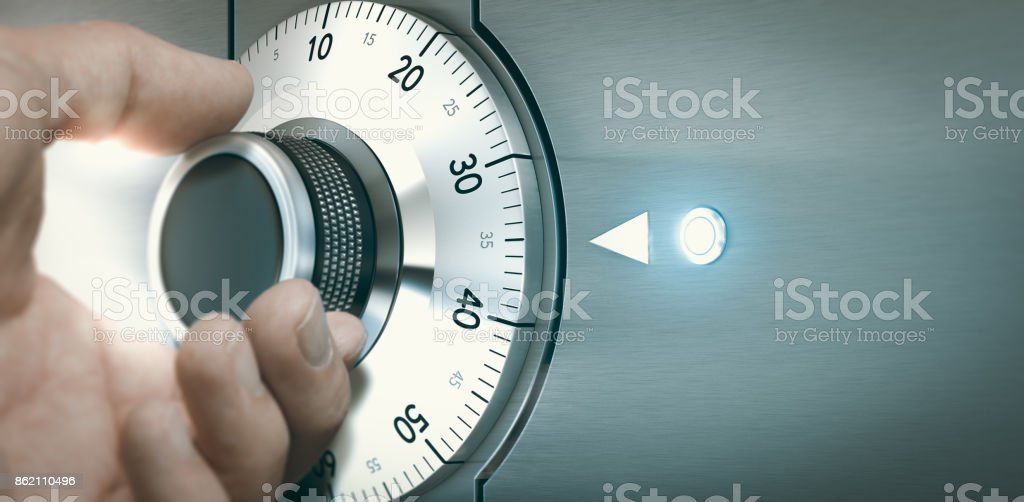 Locking or Unlocking a Safe Deposit Box stock photo