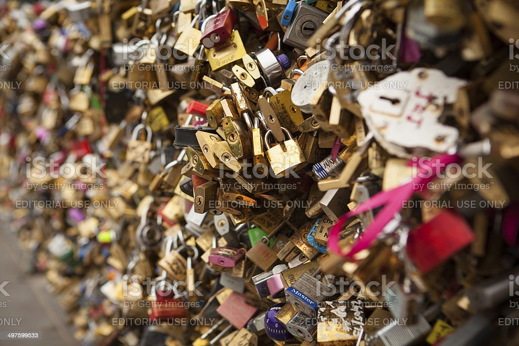 Locks of love along the River Seine. stock photo