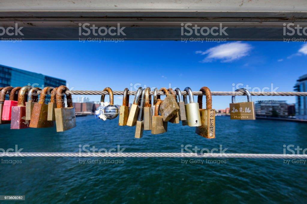 Locks on a Bridge stock photo