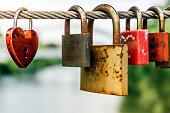 locks on a bridge in Bamberg