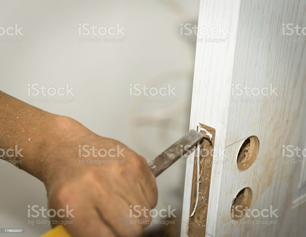 Locksmith Installation Door Locks royalty-free stock photo