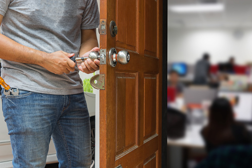 istock locksmith open the wood door by cylinder tools to office 683274770