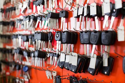 Locksmith Stand With Car Keys On Hooks-foton och fler bilder på Affär