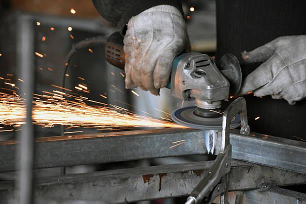 Locksmith welding sharpening stock photo