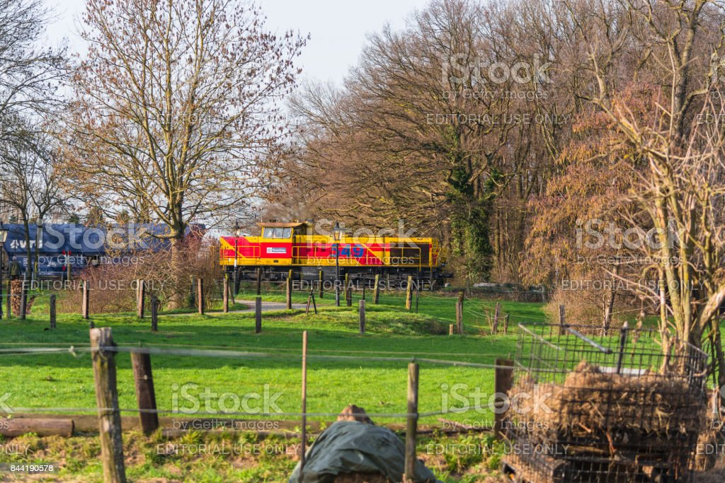Locomotive at the railroad crossing in Ratingen stock photo