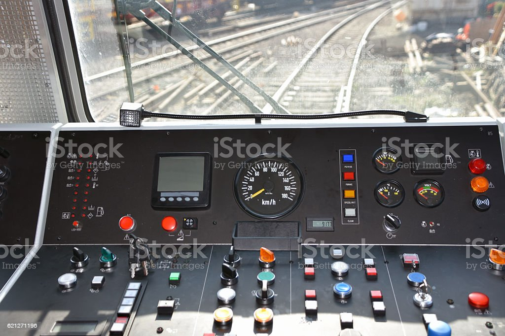 Locomotive cockpit stock photo