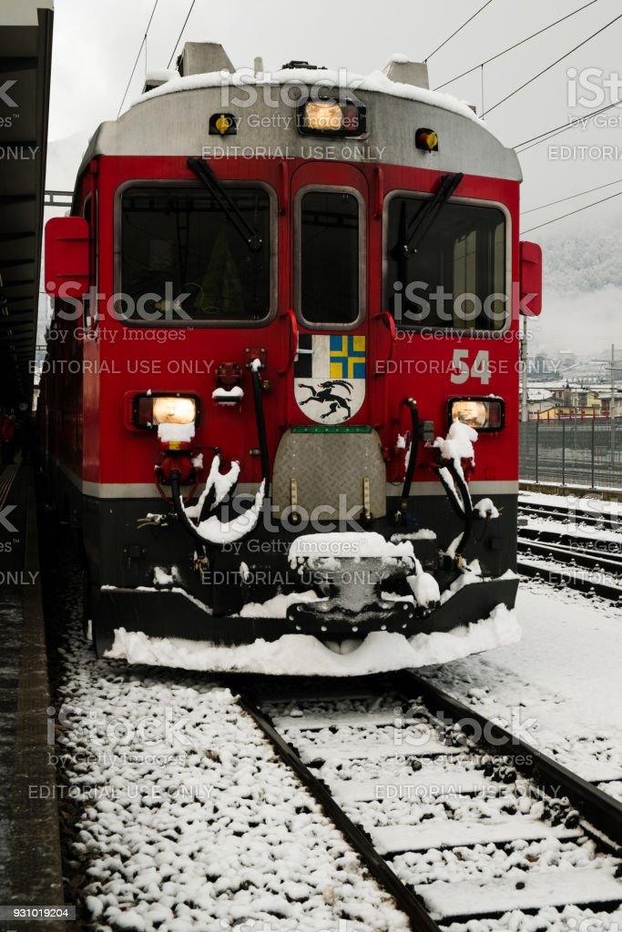 Locomotive of the Bernina Express train in winter stock photo