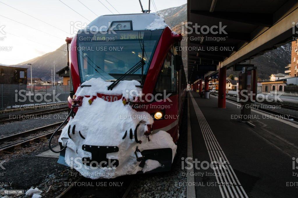 Locomotive of the Bernina Express train stock photo