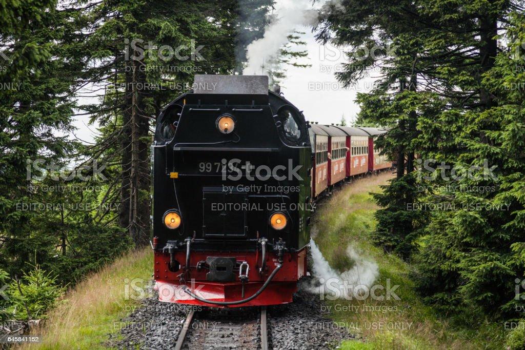 Locomotive sur la voie ferrée la vapeur Brockenbahn Harz (Wernigerode, Allemagne). - Photo