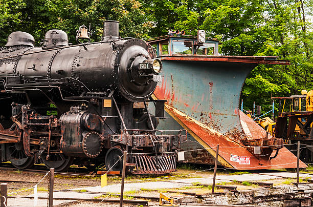 Locomotive North Conway, New Hampshire Usa - July 24, 2014: old fashioned locomotive in a train depot conway new hampshire stock pictures, royalty-free photos & images