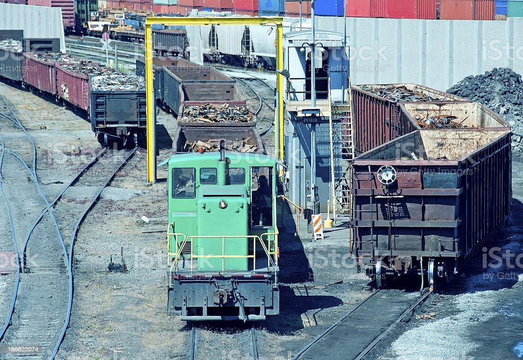 Locomotive pulls boxcars of scrap metal to steel mill royalty-free stock photo