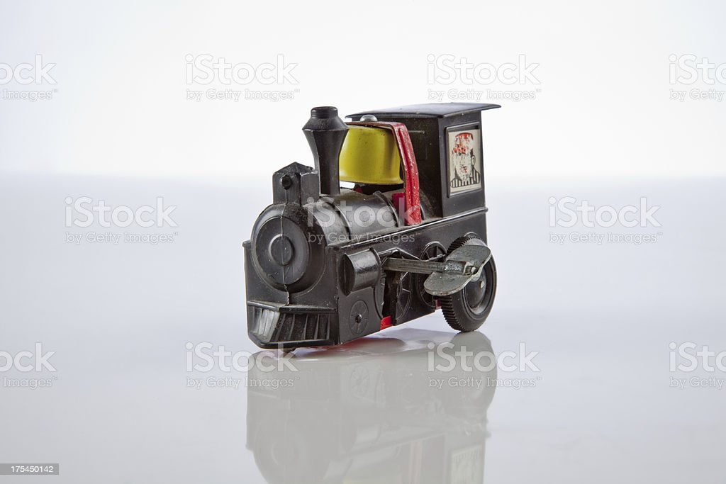 Locomotive toy old locomotive spring toy iron Bus Stock Photo