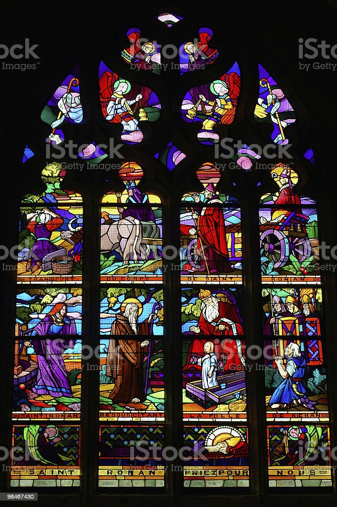 Locronan (Finistere, Brittany, France) - Stained Glass Window royalty-free stock photo