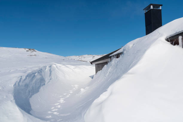 Lodge in Hardangervidda, Norway stock photo