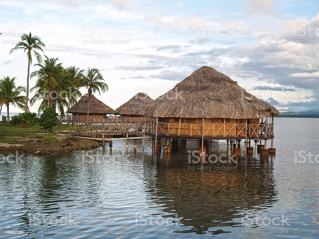Lodges on the water in San Blas stock photo