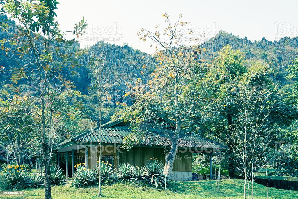 Lodging, Vang Vieng - Stock Image stock photo