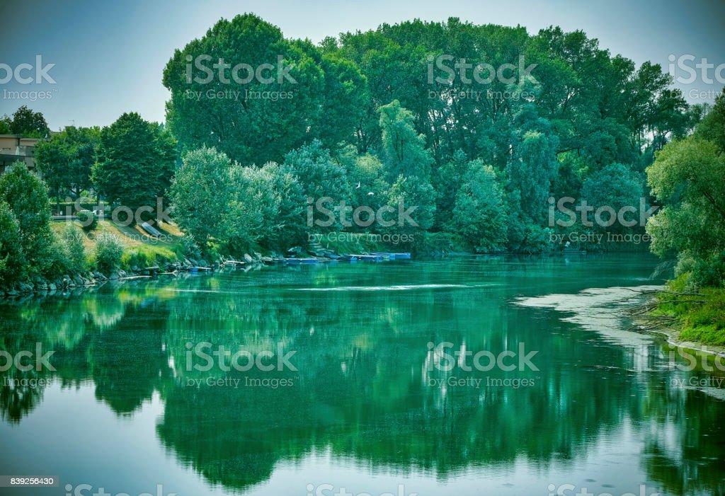 Lodi (Italy): the Adda river stock photo