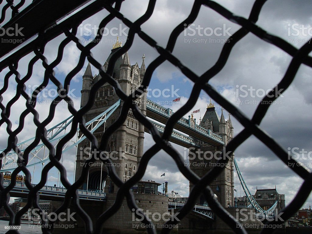 Lodon Bridge Through Fence royalty-free stock photo