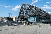 Lodz Fabryczna railway station's new modern architecture, Poland