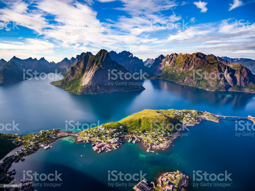 Lofoten archipelago islands aerial photography. stock photo