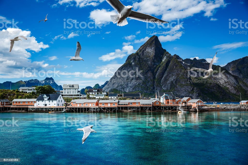 Lofoten archipelago islands islands Norway stock photo
