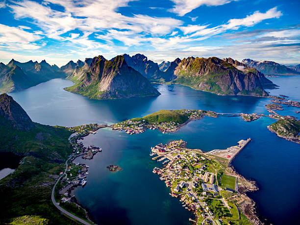 lofoten archipelago islands - fjord stock photos and pictures