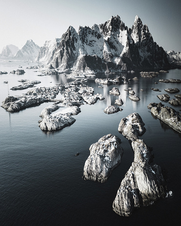 lofoten coastline from the sky