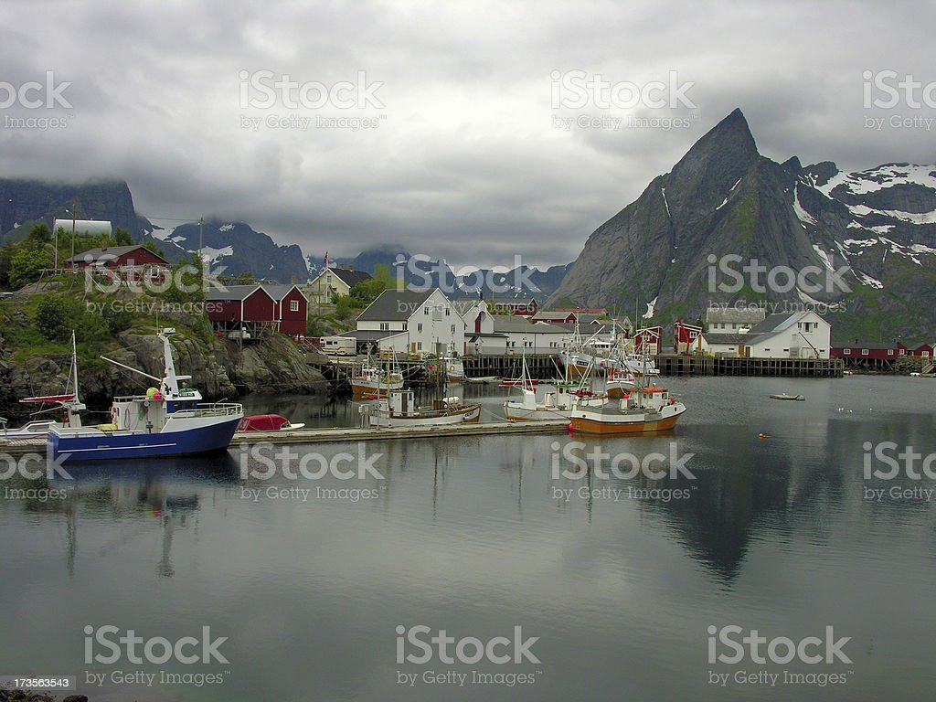Lofoten Harbour royalty-free stock photo