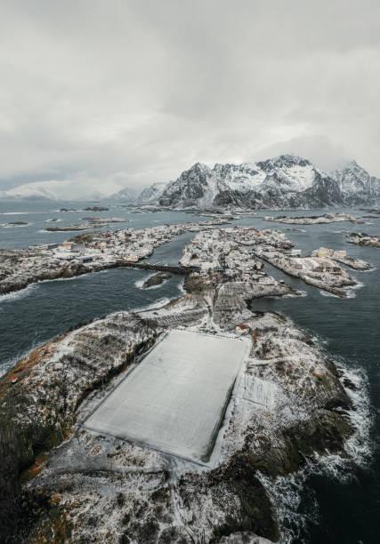 Lofoten Islands most incredible landmark of Henningsvær at winter time. stock photo