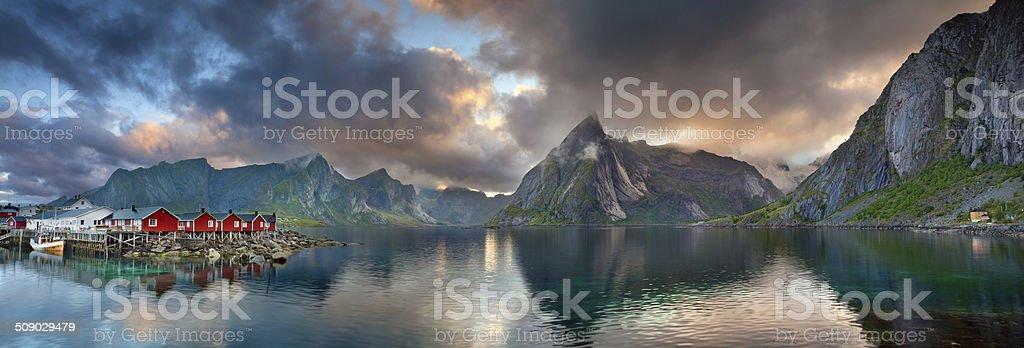 Lofoten Islands Panorama. stock photo