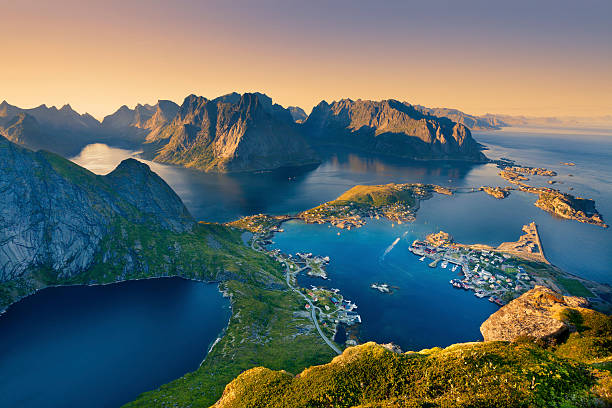 lofoten islands. - fjord stock photos and pictures