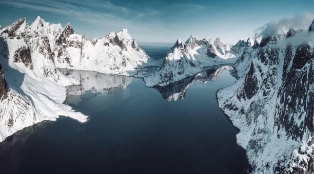 lofoten landscape in winter stock photo