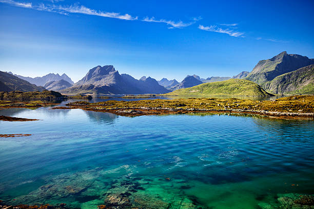 lofoten, landscape, ramberg, norway - fjord stock photos and pictures