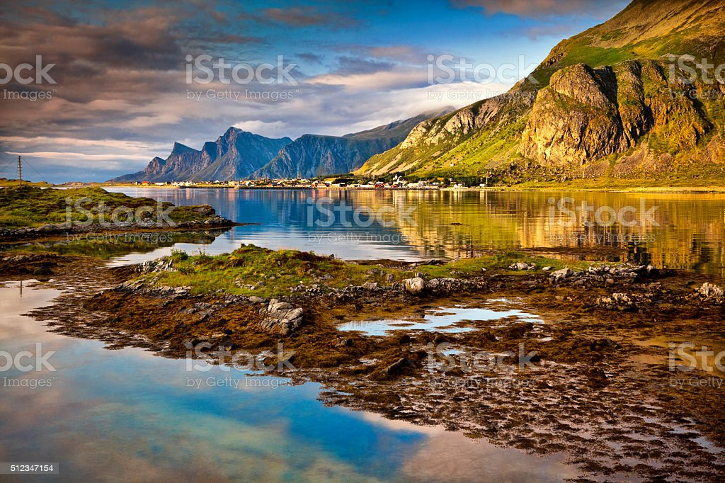 Lofoten, Landscape, Ramberg, Norway stock photo