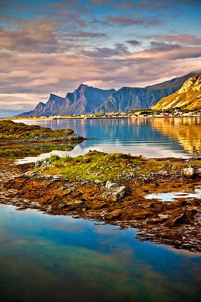 Lofoten, paisagem, Ramberg, Noruega - foto de acervo