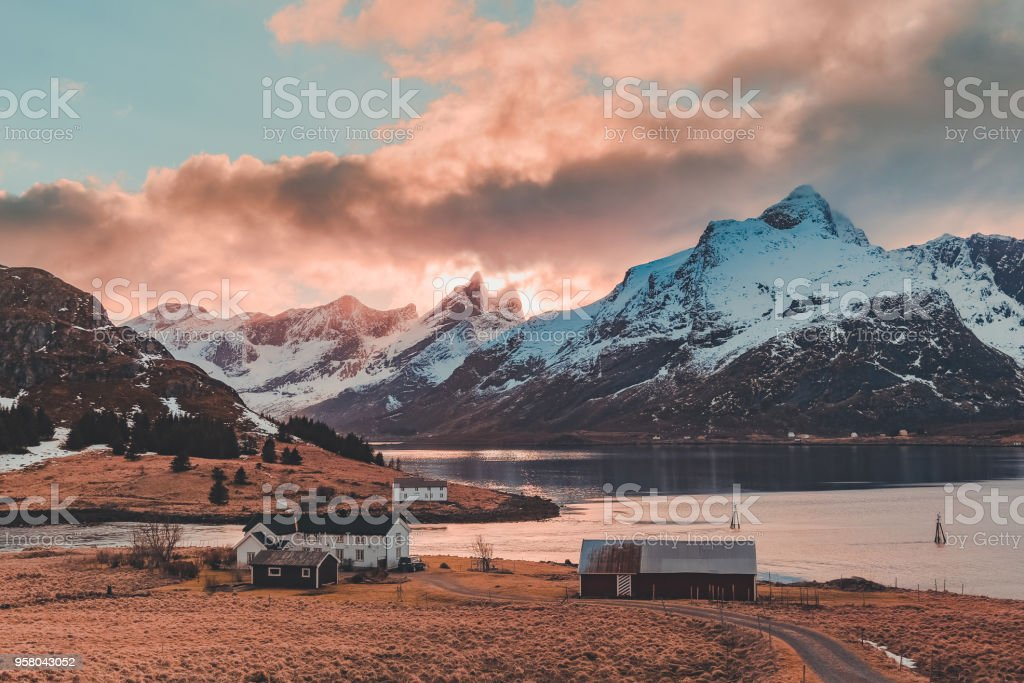 Lofoten Norway, houses by water at Strömsnes stock photo