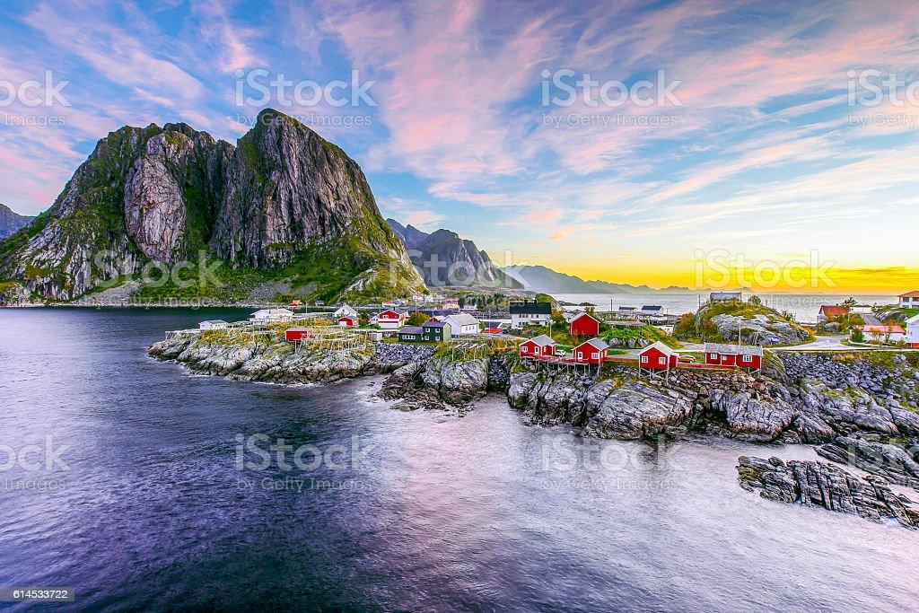 Lofoten, Norway in the morning stock photo