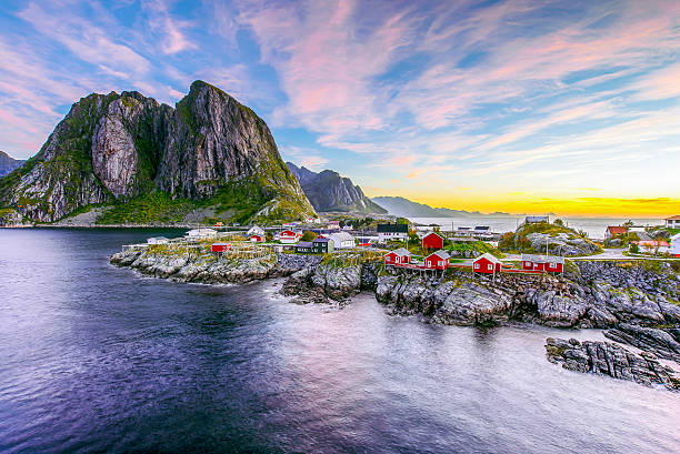 lofoten, norway in the morning - noorwegen stockfoto's en -beelden