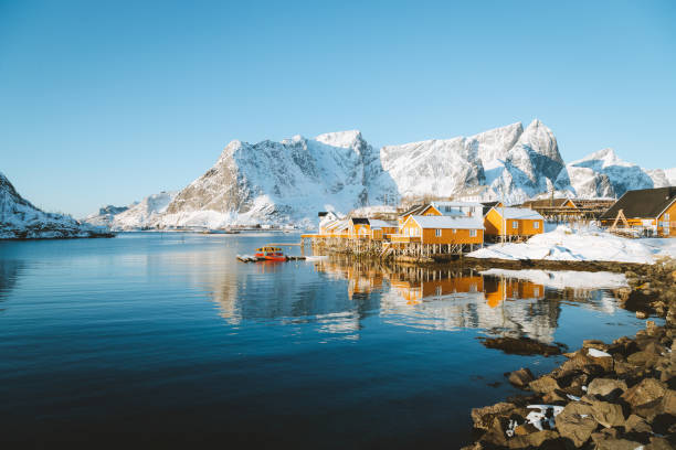 Lofoten winter scenery with traditional fisherman Rorbuer cabins, Sakrisoy, village of Reine, Norway Beautiful view of scenic Lofoten Islands archipelago winter scenery with traditional yellow fisherman Rorbuer cabins in the historic village of Sakrisoy at sunrise, Norway, Scandinavia lofoten stock pictures, royalty-free photos & images