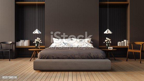Loft and modern bedroom / 3D render image