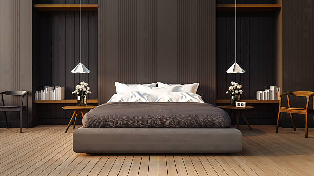 loft and modern bedroom - bedroom stock pictures, royalty-free photos & images