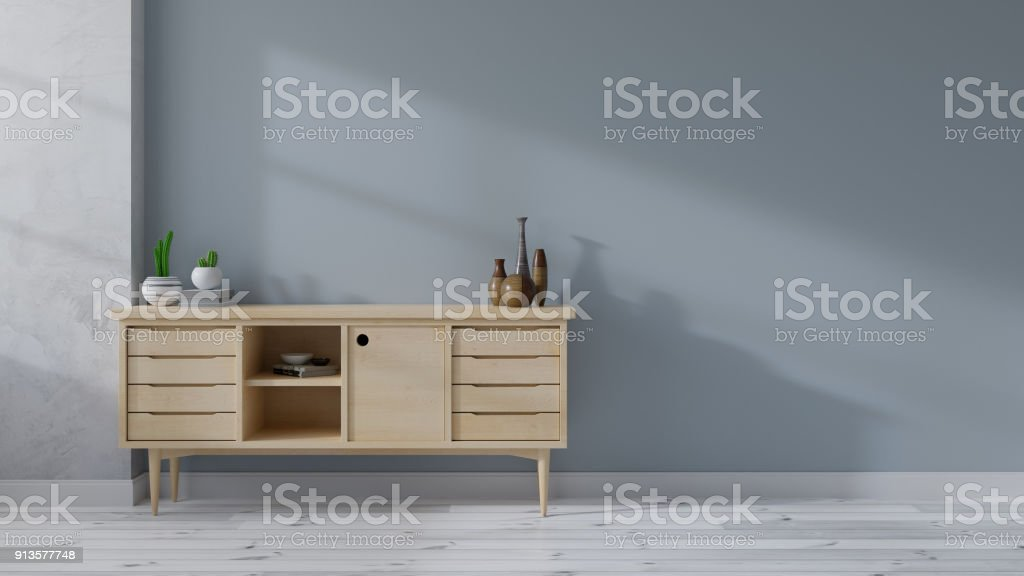 Loft and Modern mid Century interior room, wood sideboard on white flooring and blue wall  ,3d rendering stock photo