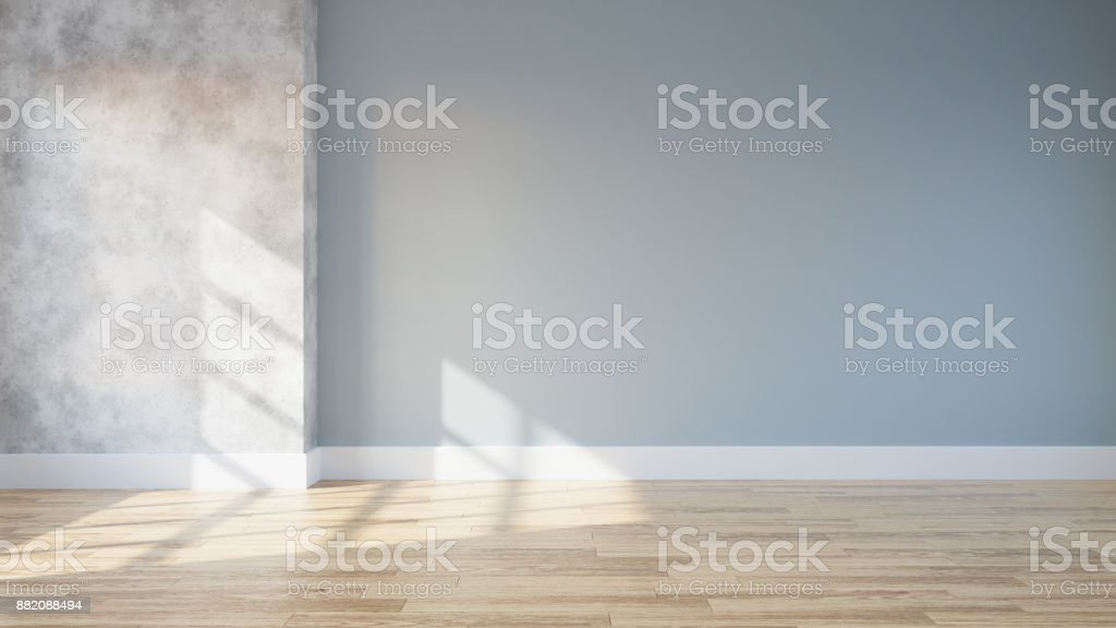 loft and vintage interior of living room, empty room,wood flooring and blue and concrete wall  ,3d rendering stock photo