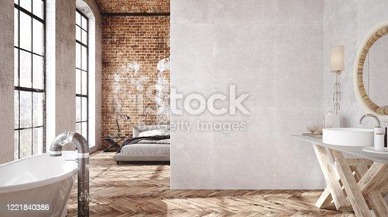 924294300 istock photo Loft apartment, industrial style 1221840386