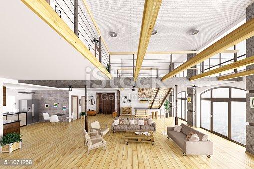 istock Loft apartment interior 3d render 511071256