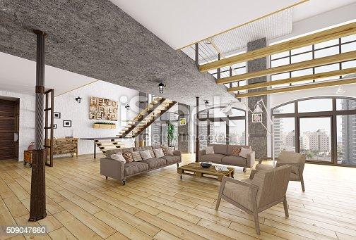 istock Loft apartment interior 3d rendering 509047660