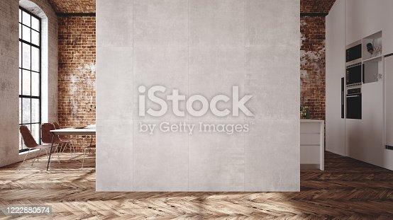 Loft apartment, kitchen interior, industrial style, 3d render