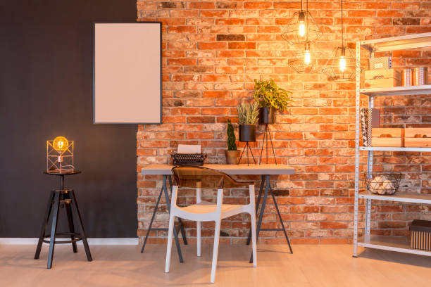 Loft apartment with brick wall stock photo