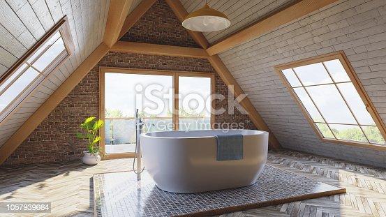 istock Loft attic bathroom concept 1057939664